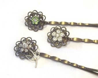 Vintage Rhinestone Hair Pins - Flower Bobby Pins - Retro Style Hair Jewelry - Rhineston Hair Picks