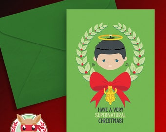 A Very Supernatural Christmas Card - Castiel - PRINTABLE