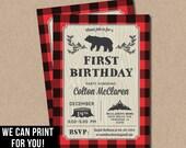 Lumberjack First Birthday Invitations party bear buffalo plaid wood