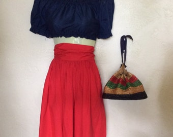 "Vintage 1950's 60's Patriotic Red Cotton Full Skirt XS 22"" W"