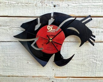 WSU Cougar Clock   Vinyl Record • Upcycled Recycled Repurposed • Sports • College Football • Mascot • Sillhouette