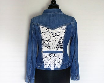 Upcycled Denim Jean Jacket with Crochet Lace Inserts Cut-out Panels Front and Back