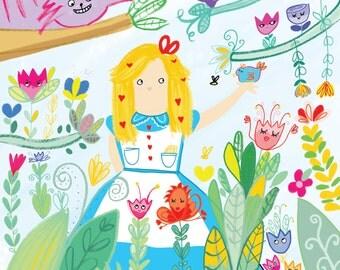 Alice in Wonderland A4 SQUARE print