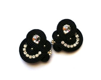 Soutache Clip On Earrings - birthday gift for wife - Clip on Earrings - Gift for girlfriend - gift for her - Gift for sister - Gift for mom