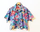 Cropped Tropical Vintage Blouse / 80s Jungle Resort Top / Vintage Floral Cropped Button Down