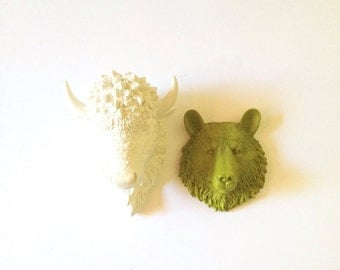 Any Color SET of 2:  1 small Bison and 1 other small animal head / Faux Taxidermy / mini  / buffalo / kids room / faux animal head / bundle