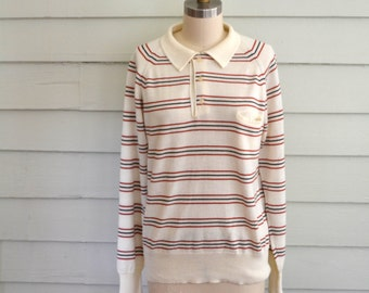 vintage 1970s striped sweater / small vintage sweater / medium vintage sweater / cream red brown collared sweater with stripes