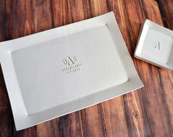 Personalized Wedding Gift or Anniversary Gift - Large Rectangular Wedding Platter with Set of 4 Appetizer Plates - Gift Boxed