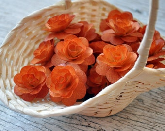 150  Pcs Burnt Orange Birch Wood Roses for Weddings, Home Decorations, Scrapbooking and Floral Arrangements