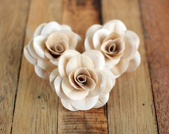 6 Pcs  Ivory Eco-Friendly Corn husk Roses