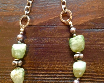 Green prehnite with silver plated beads and silver finish chain