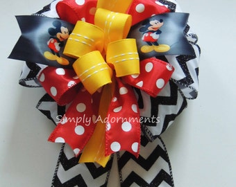 Mickey Disney Bow Mickey Birthday Party Decor Black Red Yellow Mickey Mouse Gift Bow Funky Disney Birthday Decor Disney Gift Topper Bow