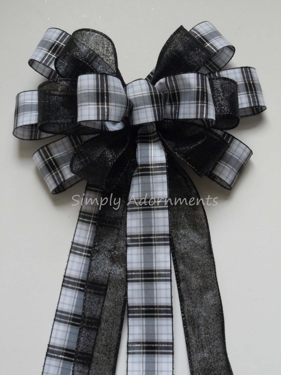 Black White Plaid Bow Black Tartan Wedding Pew Bow Black Plaid Wreath Bow Wedding Chair Bow