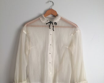 1950s Sheer Cream Blouse / Vintage Peter Pan Collar Blouse