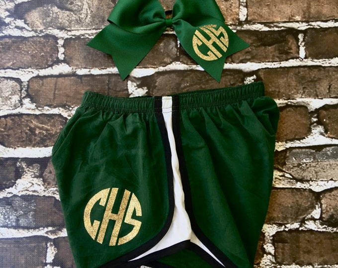 Monogram Cheer Shorts and Cheer Bow Set, Monogrammed Gifts, Cheer Camp Shorts, Cheer Bow