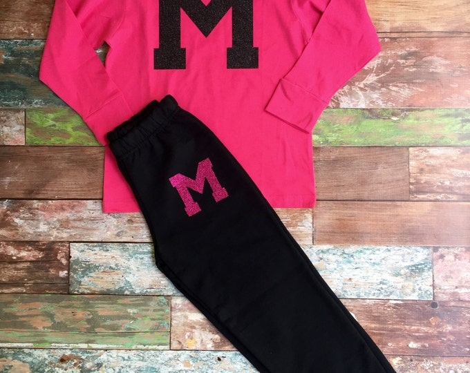 Monogrammed Shirt Monogrammed sweatpants Set, Monogram Sweatpants, Monogram Long Sleeve Shirt, Cheer Warmups, Cheer Camp, Monogrammed Gifts