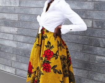 THE LOLA Midi Circle Skirt in Golden Yellow