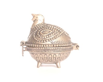 Cast Metal Egg Shaped Bird with Legs - Hinged Dish