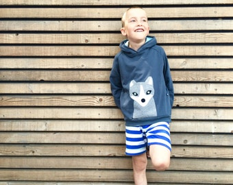 toddler boy clothes, kids hoodie, arctic fox hoodie, organic hoodie, toddler boy hoodie, 100% organic cotton, applique arctic fox