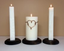 Unity Wedding Ceremony Candles Set and Stand - Modern Wire Wrapped Silver or Copper Heart