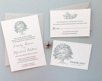 Wedding Invitation -  Rustic Wedding Invitation, Oak Tree Wedding Invitation
