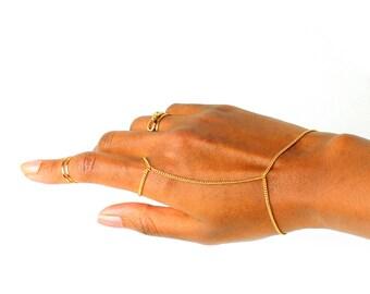 Solid Gold ring bracelet, solid gold bracelet, gold slave bracelet, gold slave chain, hand slave bracelet, slave bracelet, gold hand chain