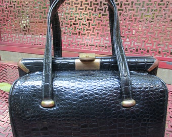vintage 1960's black faux crocodile embossed mini doctor style bag purse brass accents
