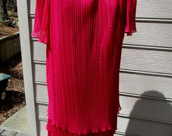 vintage 80's plus size hot pink dress shift like size 22 1/2 polyester? by Risa Ann New York