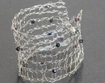 Sterling Silver Bracelet - Silver Bracelet - Silver Cuff - Sterling Silver Cuff - Mesh Cuff - Mesh Bracelet - Wire Knit Cuff - Purple Cuff