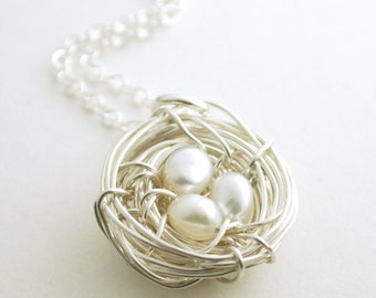 Silver Birdsnest Necklace Mother Jewelry Birds Nest with Pearls Sterling Silver Freshwater Pearl Accents