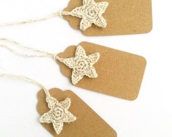 Gift Tags with Stars / Christmas Gift Wrapping / Eco-friendly Kraft Recycled Rustic / Luggage Labels / Wedding Bridesmaid's Gifts
