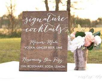 Signature Cocktails Sign, Wedding Cocktails Sign, Wedding Bar Sign, Wedding Bar Menu Sign, Wedding Menu Sign, Wooden Cocktails Sign, drinks