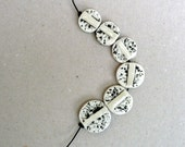 Black And White Coin Beads ,  Speckled Beads , Oval Beads , Porcelain Jewelry Supplies