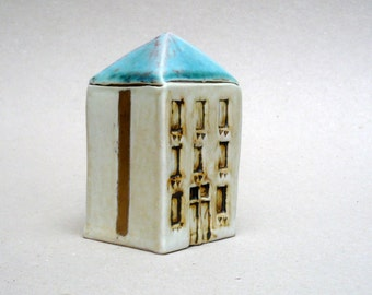 Turquoise , White And Gold , Miniature House ,  Gold Stripes ,Architecture , Ceramic Sculpture