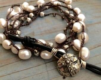 Boho Pearl  Beaded Cross Wrap Bracelet,  Pearl Sterling Cross Necklace by Few Made