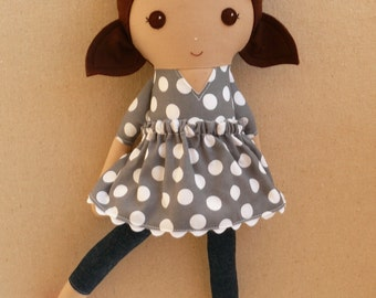 Fabric Doll Rag Doll Brown Haired Girl in Gray and White Polka Dotted Dress with Hot Pink Shoes