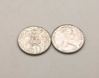 Australian Old Silver Coins, Vintage Original 50 Cents Silver 80% Coin 1966, Collectors Coins Gift, Old Coin Collection, Queen Elizabeth II