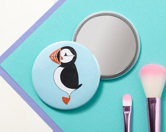 Mr Puffin Pocket Mirror - Small Mirror - Hand Mirror - Handbag Mirror