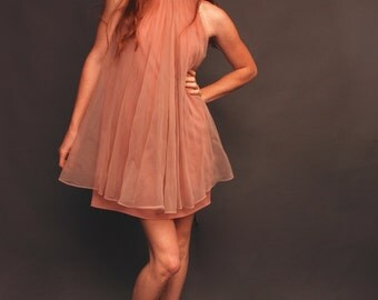 Small vintage brown tulle bell slip party dress with sequins