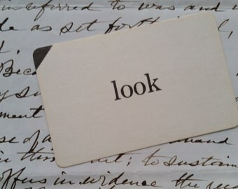 Vintage Word Flash Card | Vocabulary | Sight Word | Look