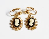 Cameo Dangle Earrings, Gold Clip On, Rhinestone Frame, Black White Woman Silhouette, Vintage Victorian Jewelry