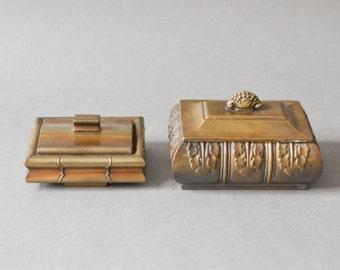 2 Vintage brass boxes, antique brass box, Art Nouveau jewelry case, jewelry organizer