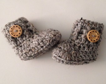 SALE Crochet  Baby Boots , Baby Booties Grey Marble Boots , Crib Shoes , Newborn Shoes Baby Shower Gift Baby Shoes Made To Order