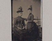 Nicely Posed Tintype of Two Well Dressed Women