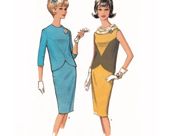 1964 Vintage 2-Piece Dress, Sleeveless or 3/4 Sleeves Shaped Seam Top, Kick-pleat Pencil Skirt, McCall's 7628, Hard-to-Find Bust 38""