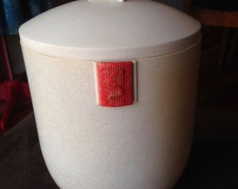 Vintage late 1930s White & Red Duperite Canister