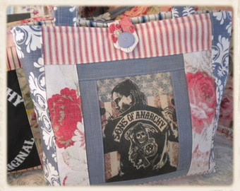 Jax~Sons of Anarchy~Tote Bag w/Denim & Roses~Red White and Blue *FREE SHIPPING*