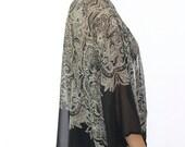 Aztec Border Print Kimono, Sheer Boho Kimono Jacket, Boho  Duster