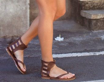 ALEXANDRIA. Brown leather sandals / barefoot sandals / greek sandals / gladiator sandals. Sizes 35-43. Available in different leather colors