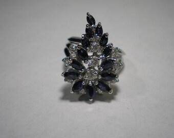 Vintage 14 kt White Gold Blue Sapphire Diamond Cocktail Spray Cluster Ring Size 6.5